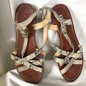 Cole Haan Leather Snake Strappy Sandals